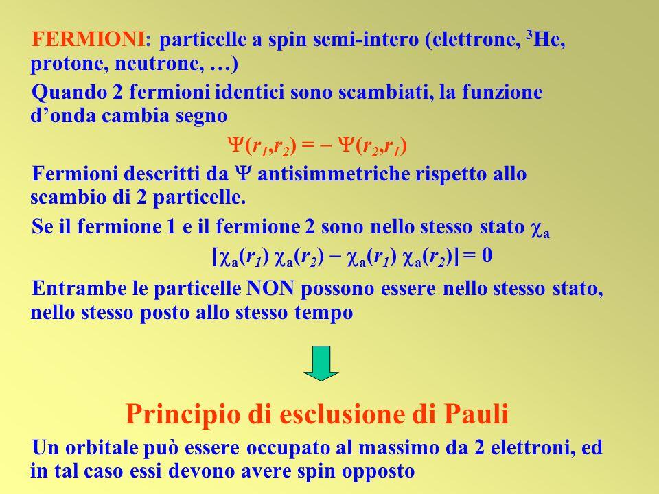 [a(r1) a(r2)  a(r1) a(r2)] = 0 Principio di esclusione di Pauli